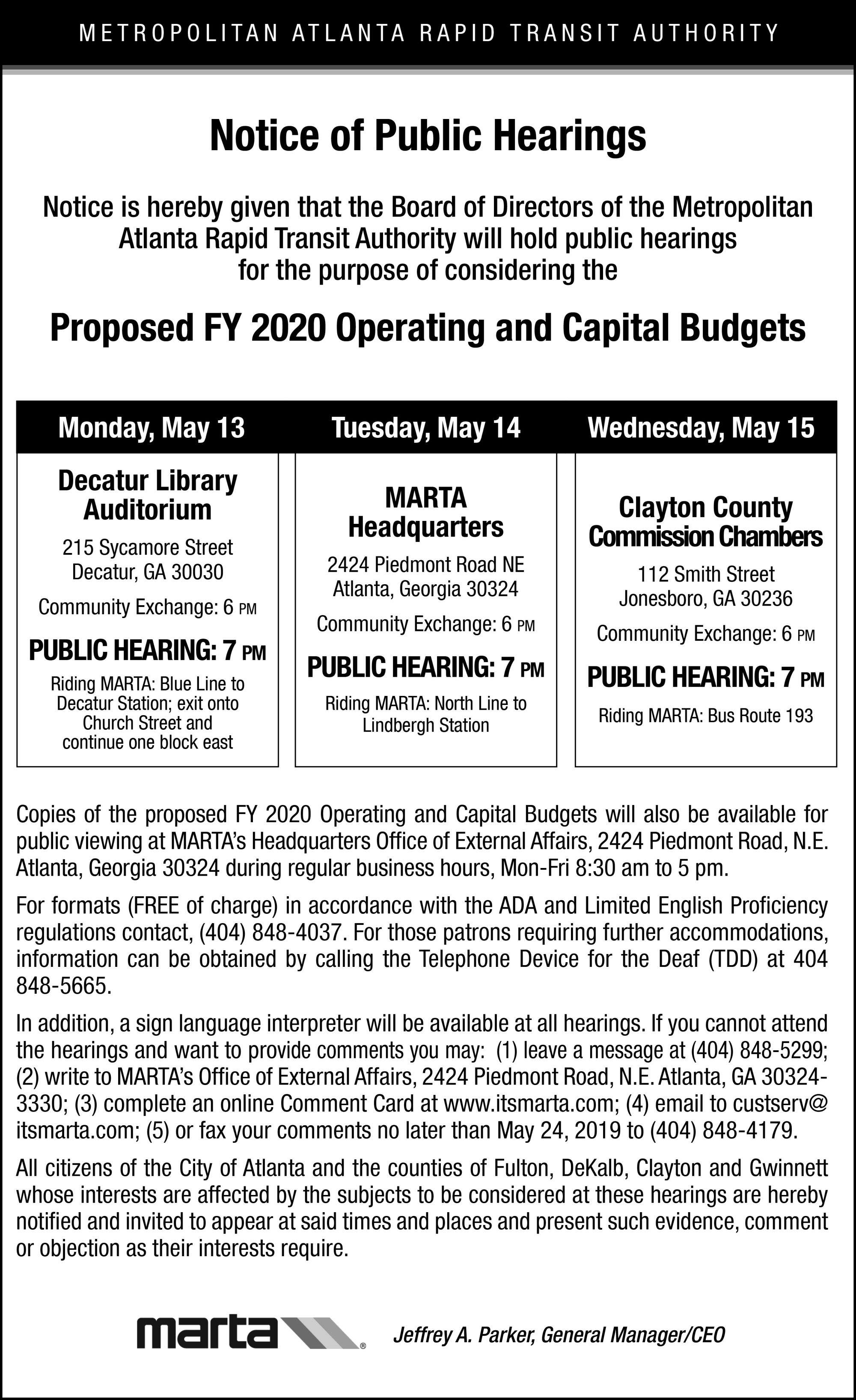 May 2019 Public Hearing Ad