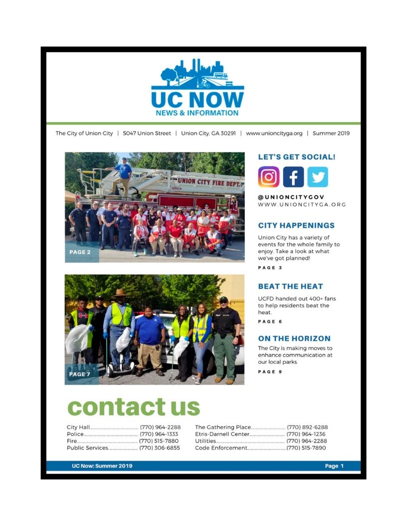 UC's Summer Newsletter: Now Available | UC News | Union City, GA