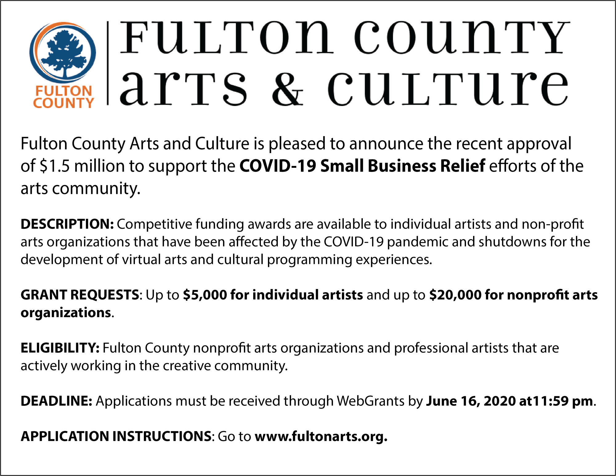 Fulton County Arts Initiative Flyer